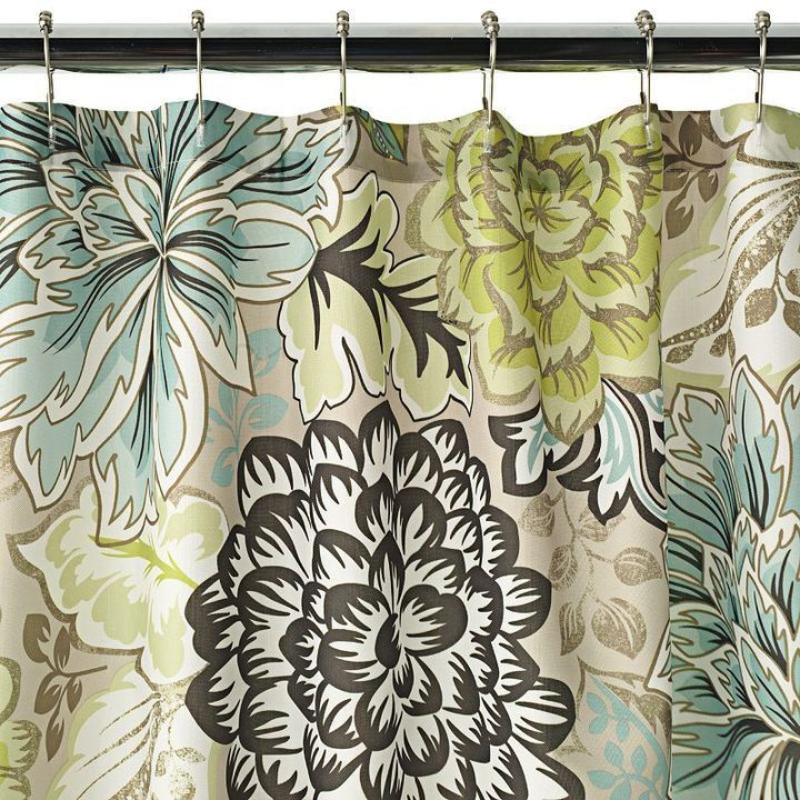 Green And Brown Curtains: Reiko Floral Brown Green Blue Shower Curtain NEW Home