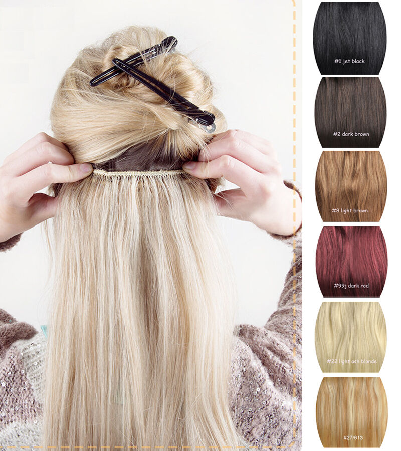real remy human hair clip in hair extensions one piece