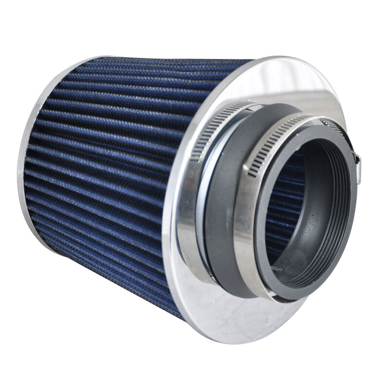 Round Air Filter : Blue quot chrome short ram cold air intake round cone high