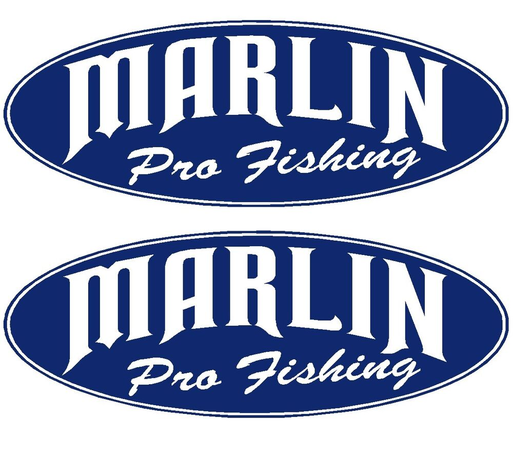 2x marlin boat names marlin pro fishing decal sticker for Fishing boat decals