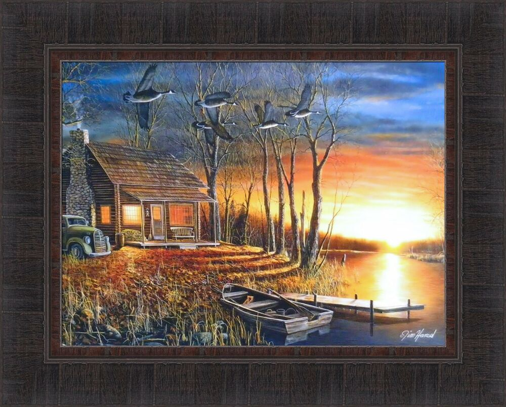 Sundown By Jim Hansel 17x21 Log Cabin Boat Geese Sunset