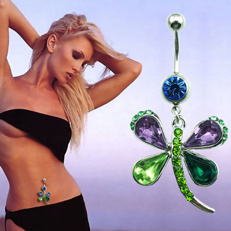 Rhinestone Crystal Butterfly Dangle Navel Belly Button Bar Ring Body
