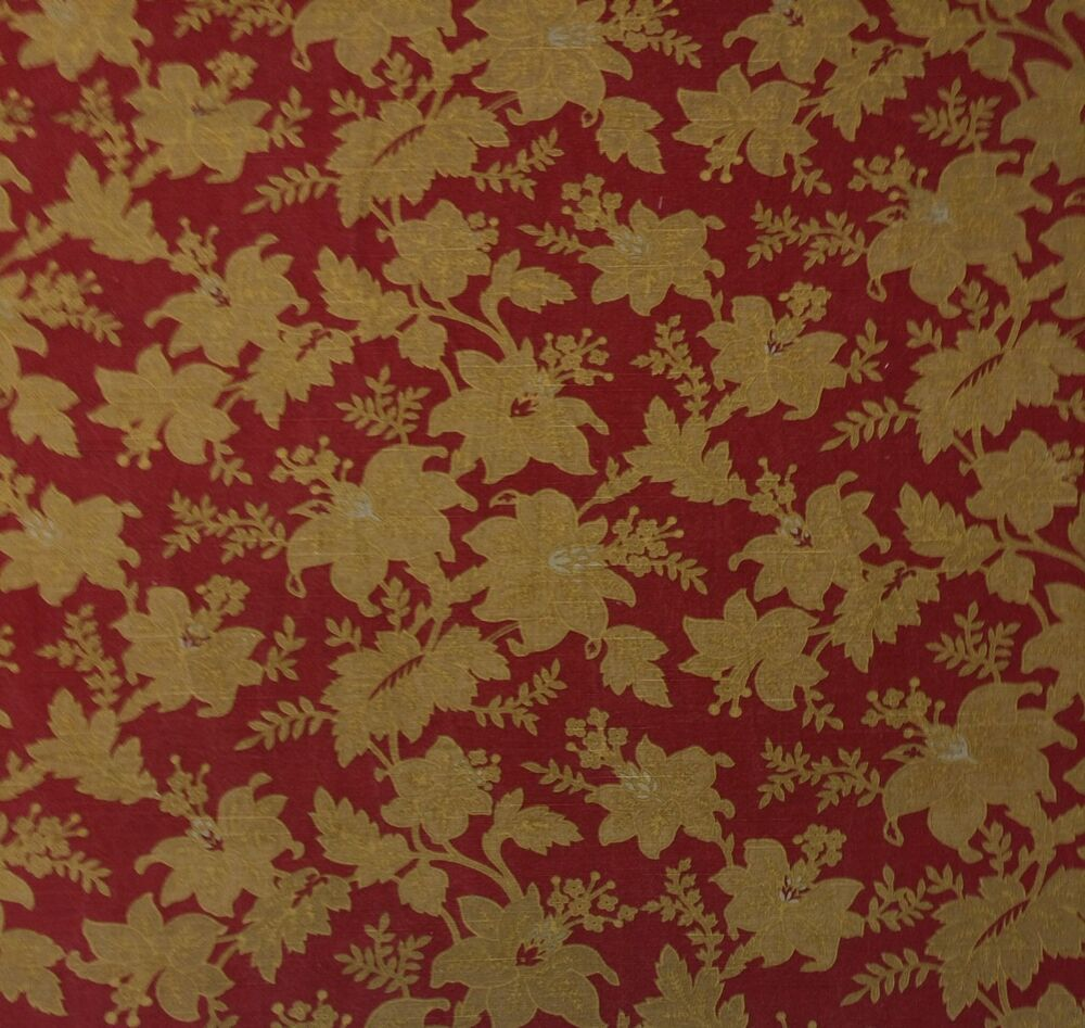 Ballard designs vintage floral gold red toile multi use for Designer fabric by the yard