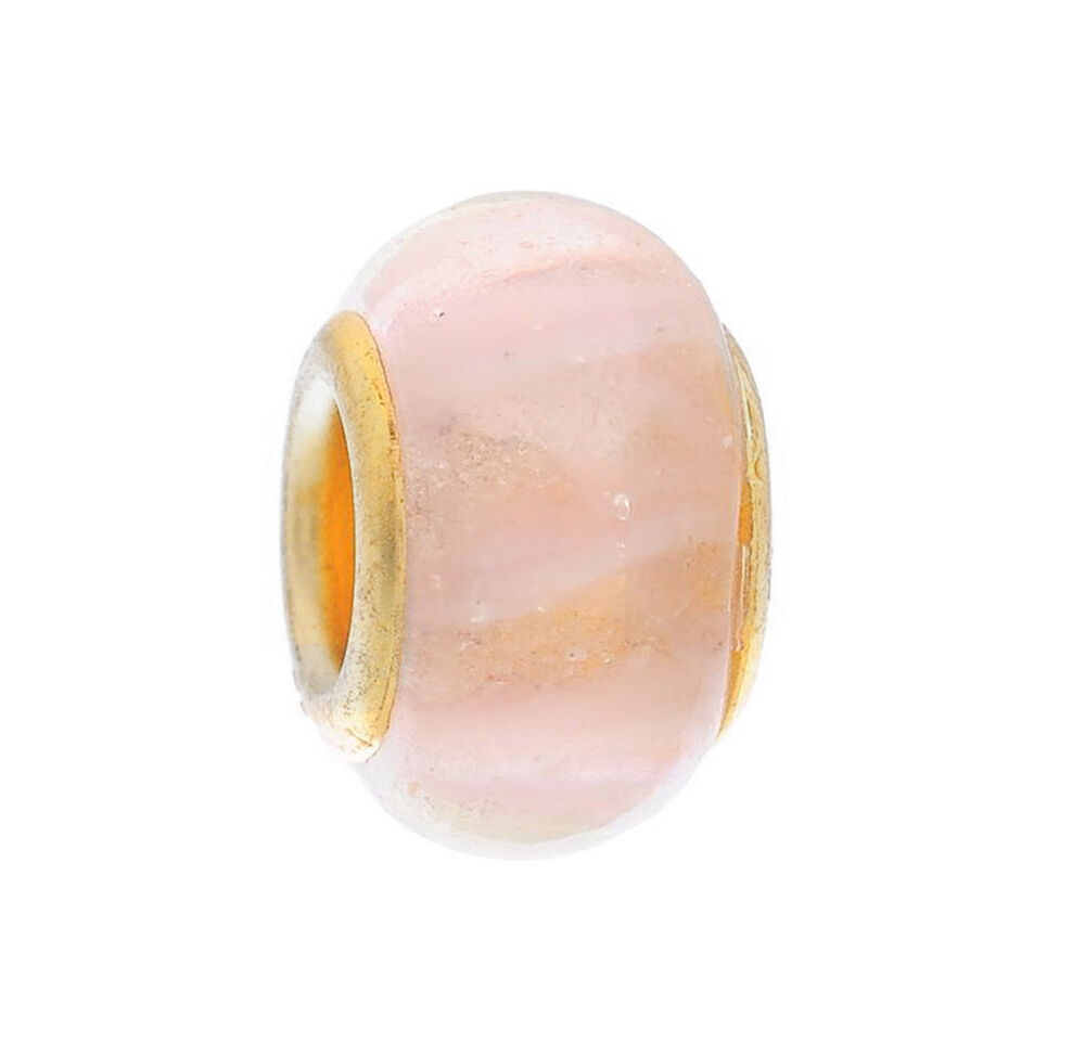Pale pink murano glass gold plated core bead fits european style charm