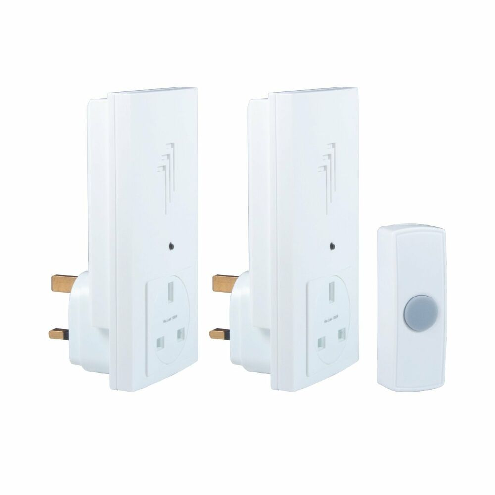 Byron db333 wireless twin plug through door bell chime kit for 1 by one door chime