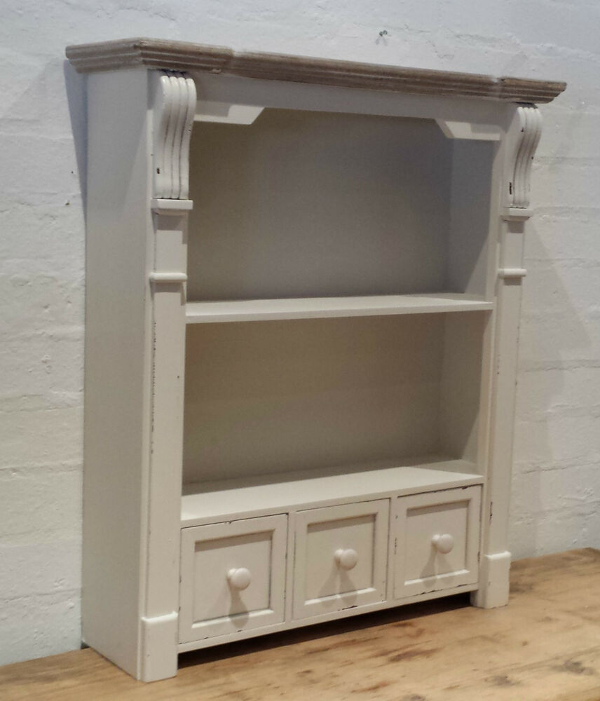 Vintage Chic Off Antique White Wall Free Standing Shelf
