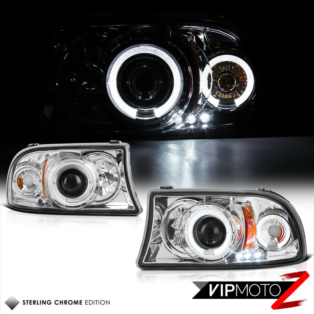 Halo Angel Eyes LED Projector Chrome Headlight Lamps 98 03
