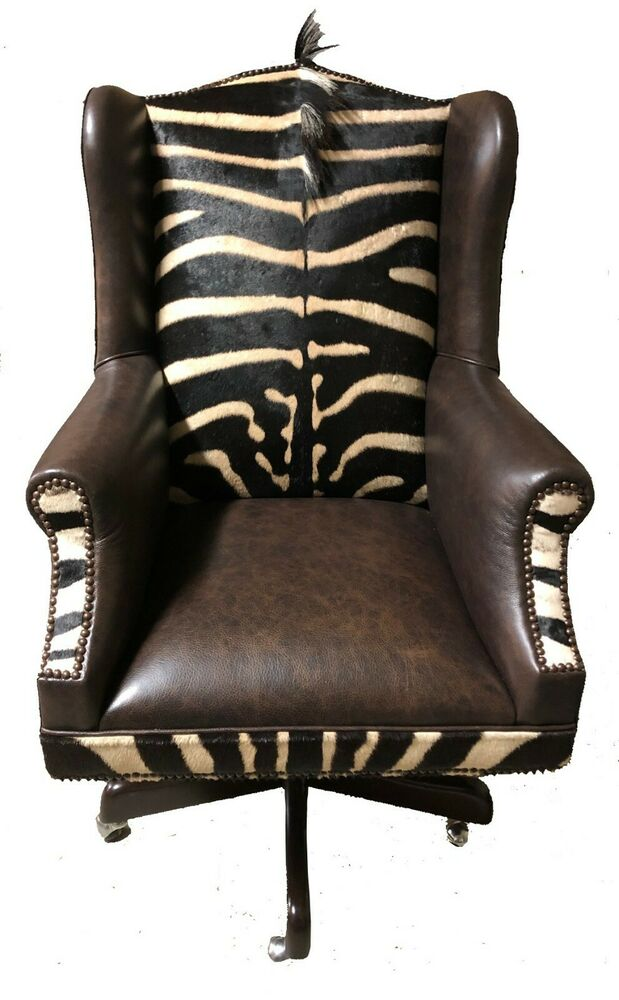 Genuine Burchell Zebra Hide Amp Leather Study Office Chair