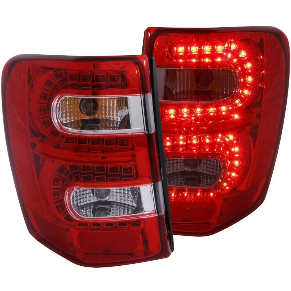 1999 2004 jeep grand cherokee l e d tail lights tail lamp red clear. Black Bedroom Furniture Sets. Home Design Ideas