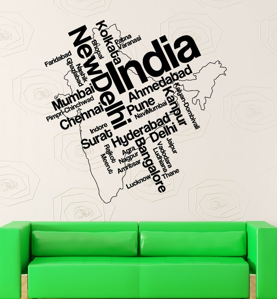 Details about wall stickers vinyl decal india map new delhi map country travel ig1788