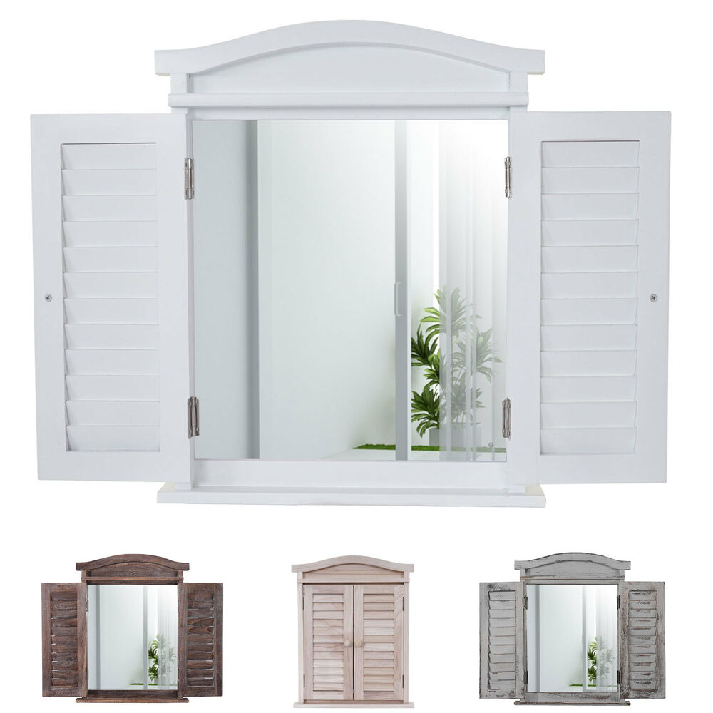 wandspiegel spiegelfenster mit fensterl den 53x42x5cm shabby look wei lackiert ebay. Black Bedroom Furniture Sets. Home Design Ideas