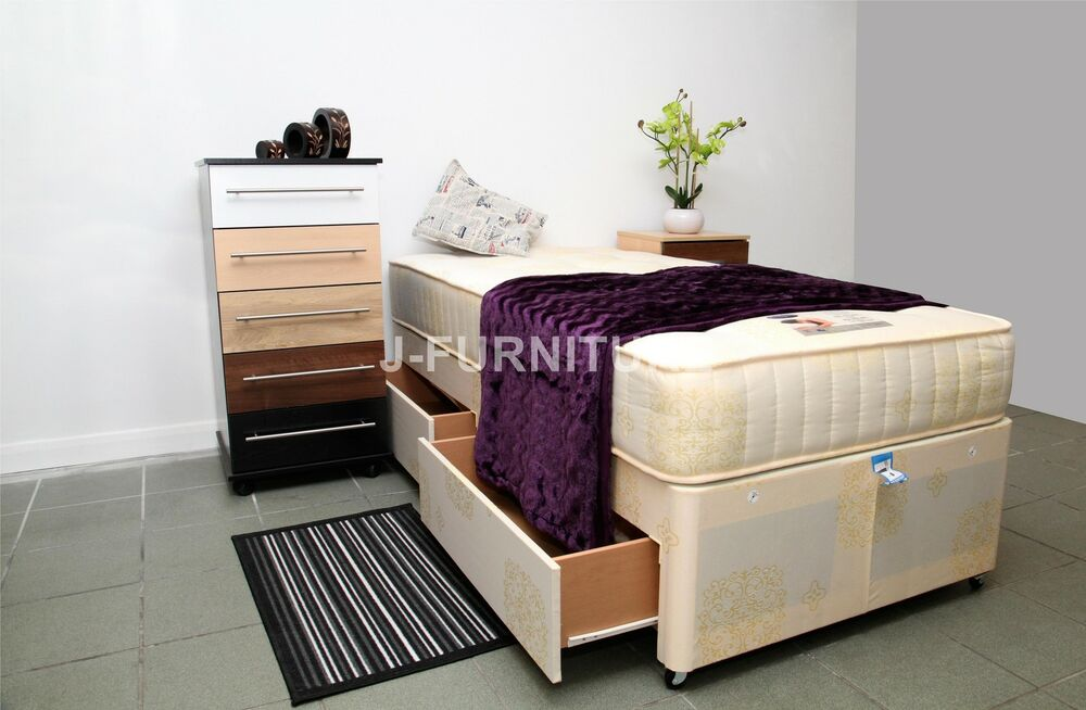 3ft Single Divan Bed With 2 Drawers Superb Orthopaedic 25cmdeep Mattress Sale Ebay