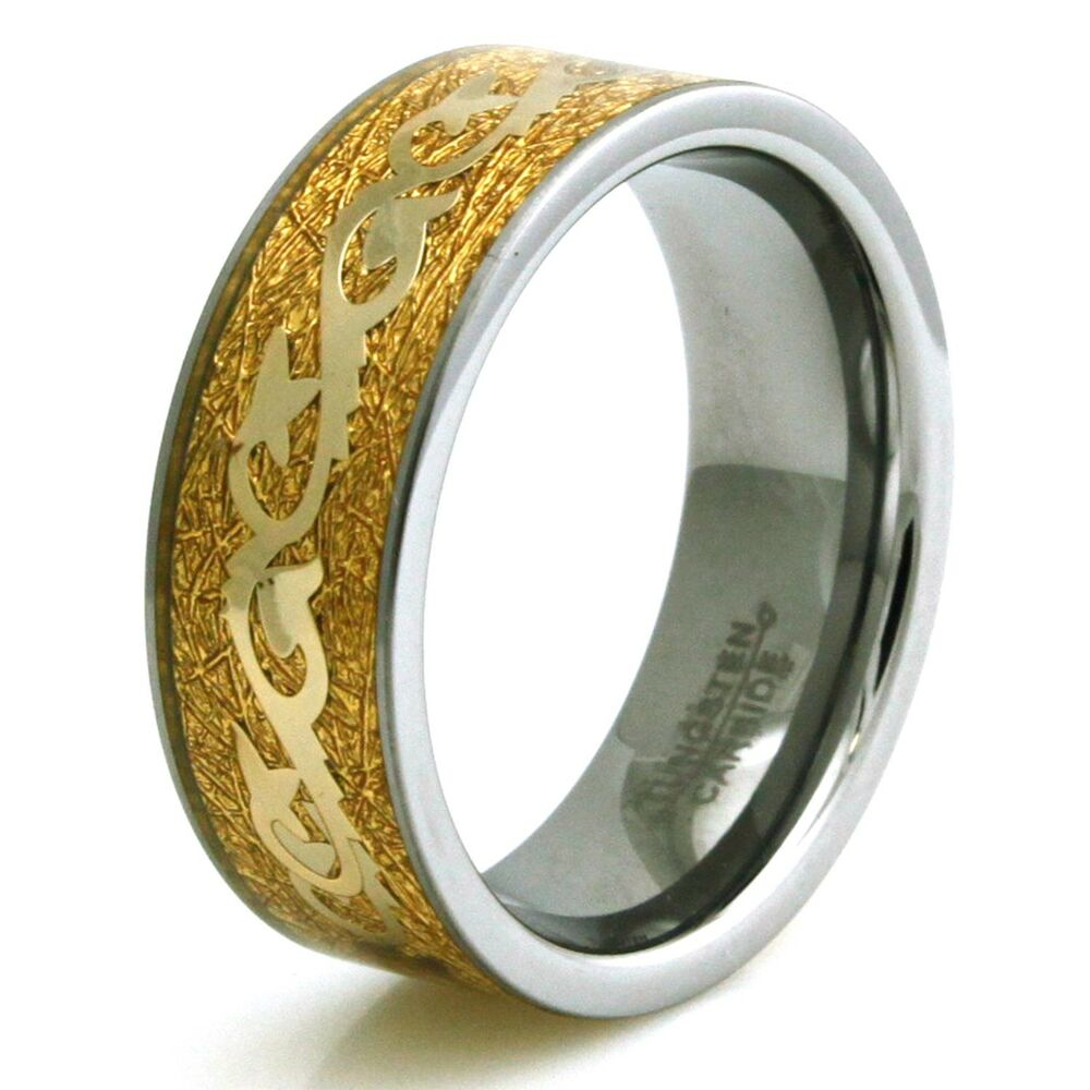 Mens Tungsten Carbide Sharks Tail W Golden Foil Amp Filigree Inlay Ring