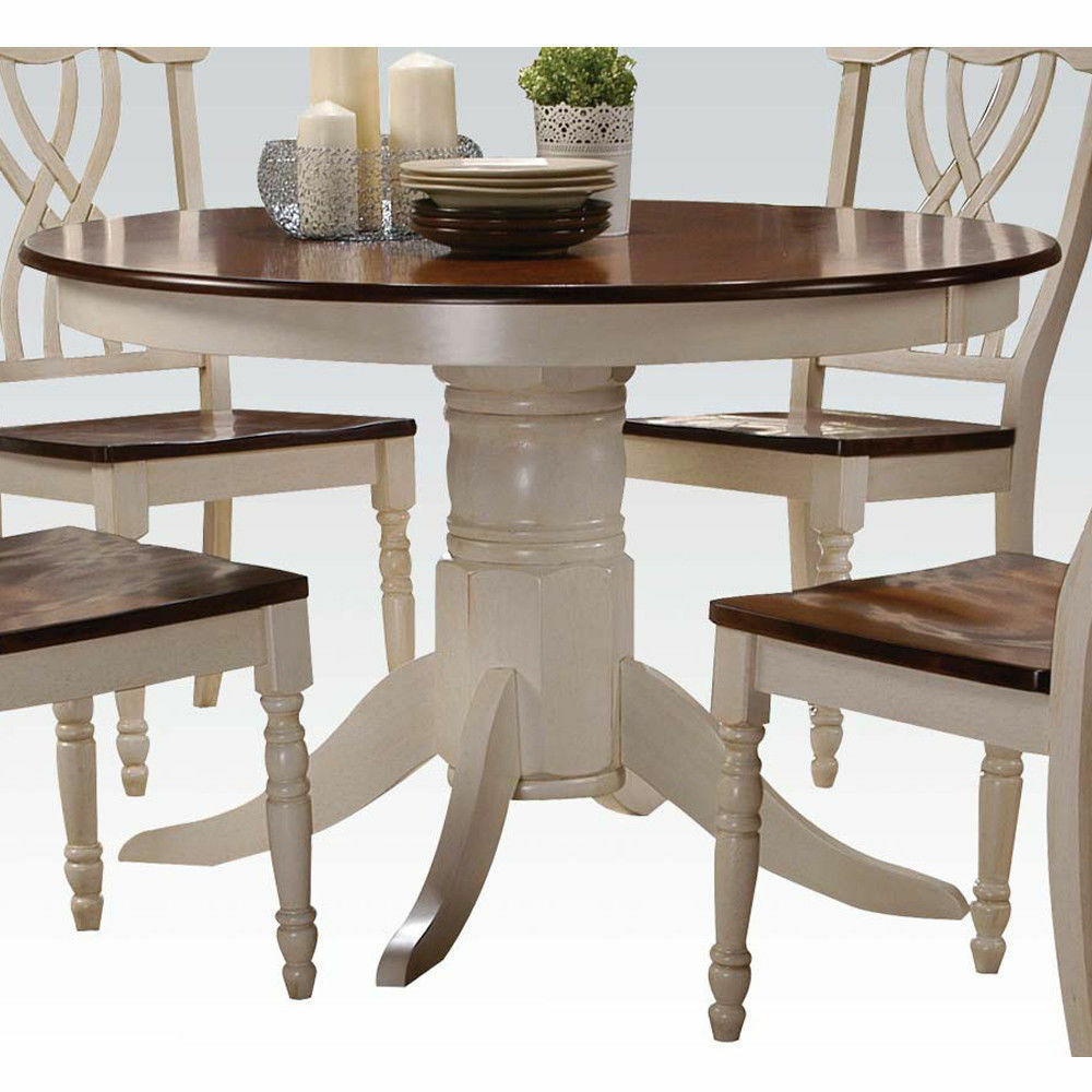 Country style durable round white cherry dual tone single for Country style dining table