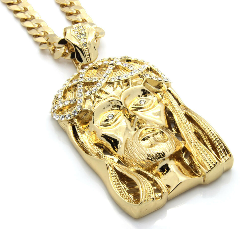 mens 14k gold plated 30 quot cuban chain crowned jesus large