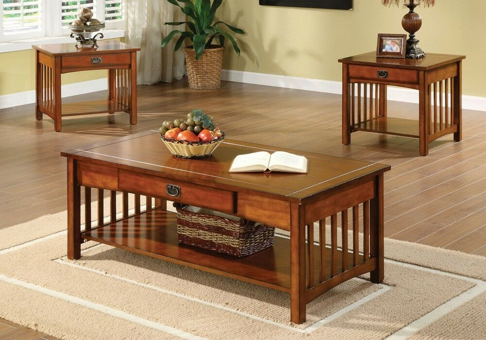 3pc seville mission style living room cocktail coffee end table set