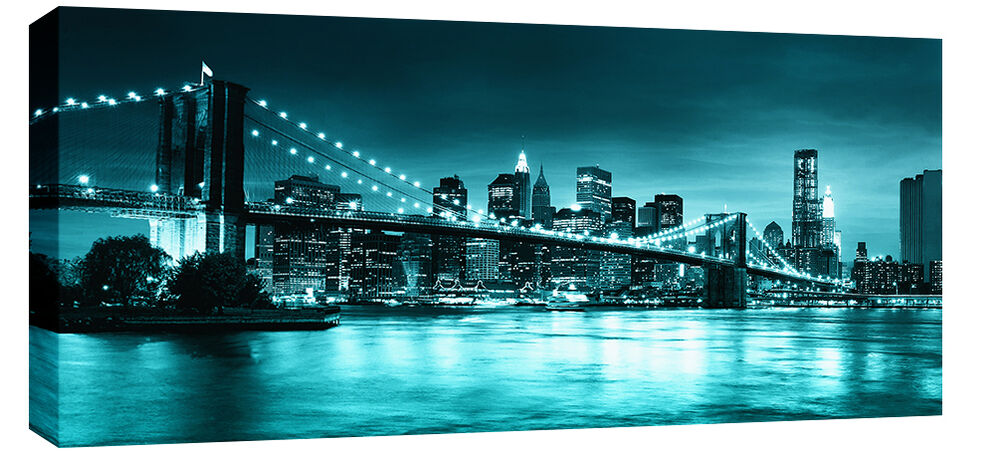 Large teal turquoise brooklyn bridge canvas new york wall for Art and craft store in brooklyn ny