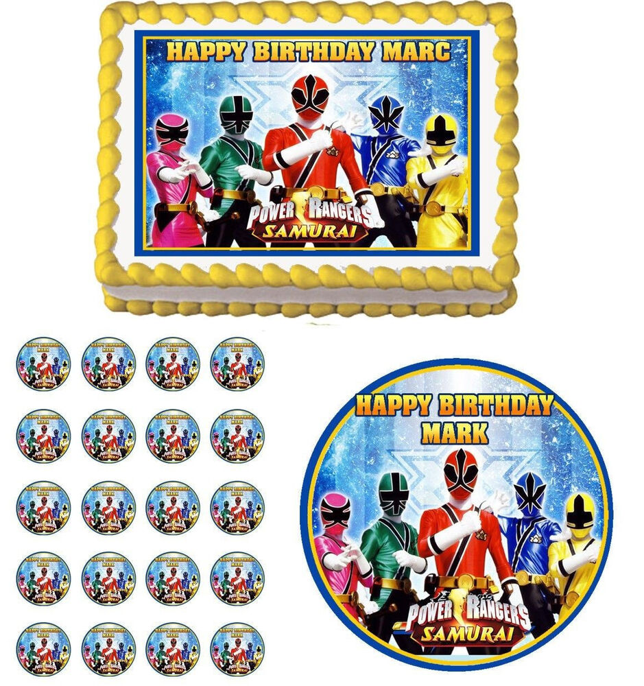 Power Rangers Edible Birthday Party Cake Topper Cupcake