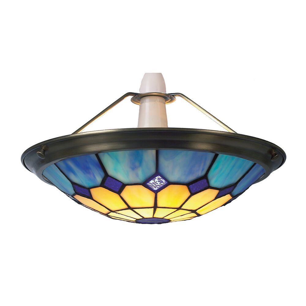 Blue tiffany bistro style uplighter ceiling light pendant