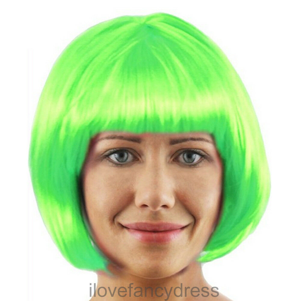 LADIES FACTORY WORKER GREEN WIG BOOK CHARACTER FANCY DRESS COSTUME ACCESSORY 12a0c7fcc53d