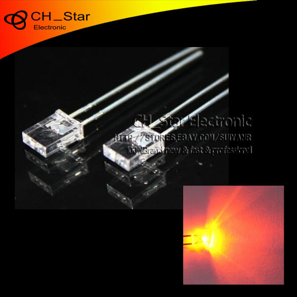 100pcs 2x5x7mm Square LED Diodes Water Clear Orange Amber Rectangle Rectangular
