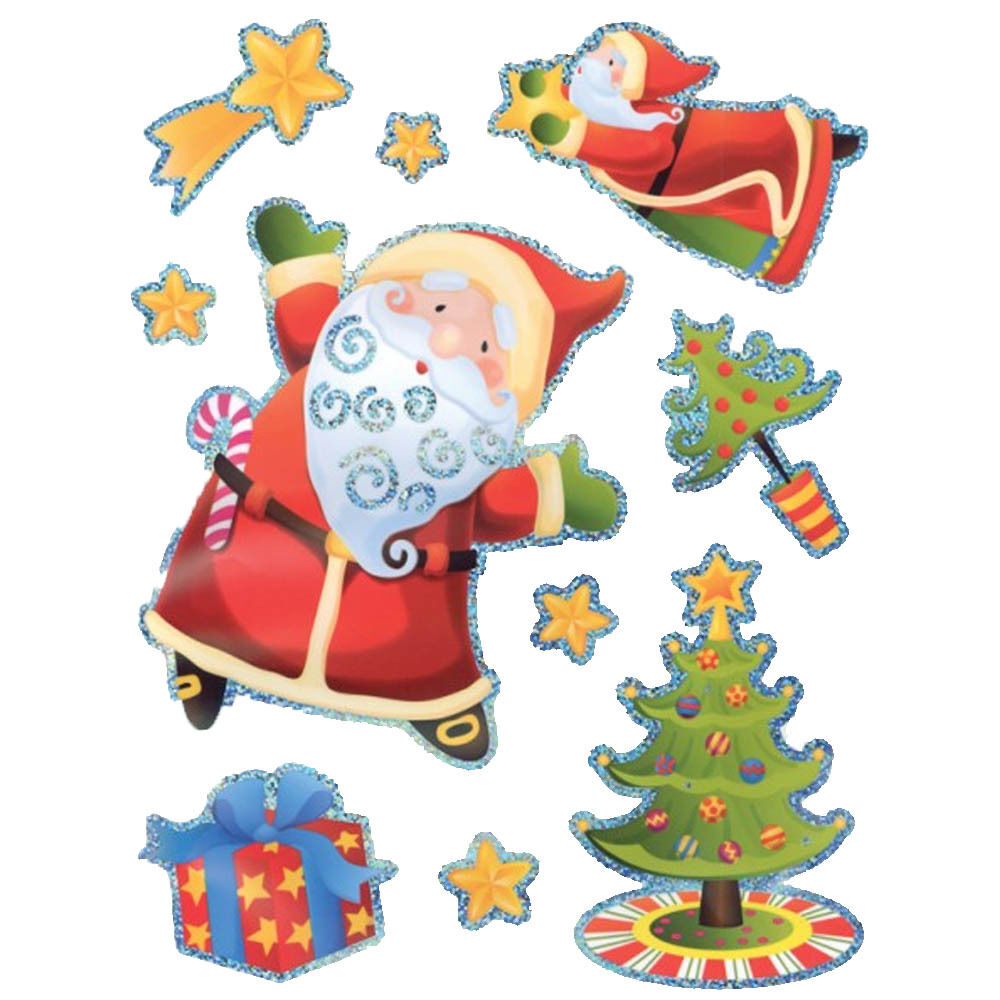 10 Piece Christmas Magical Santa Window Stickers Party