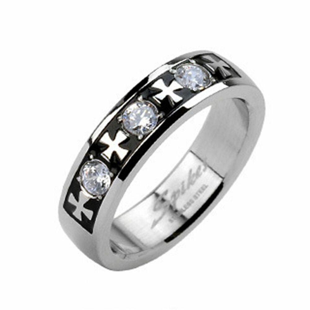 HOT MENS WOMENS STAINLESS STEEL SILVER CELTIC CROSS WEDDING BAND RING W CLEAR