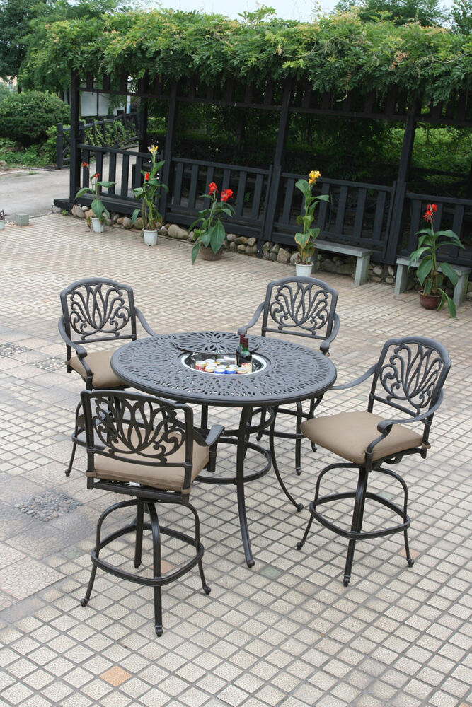 patio 5 piece set outdoor furniture cast aluminum bar
