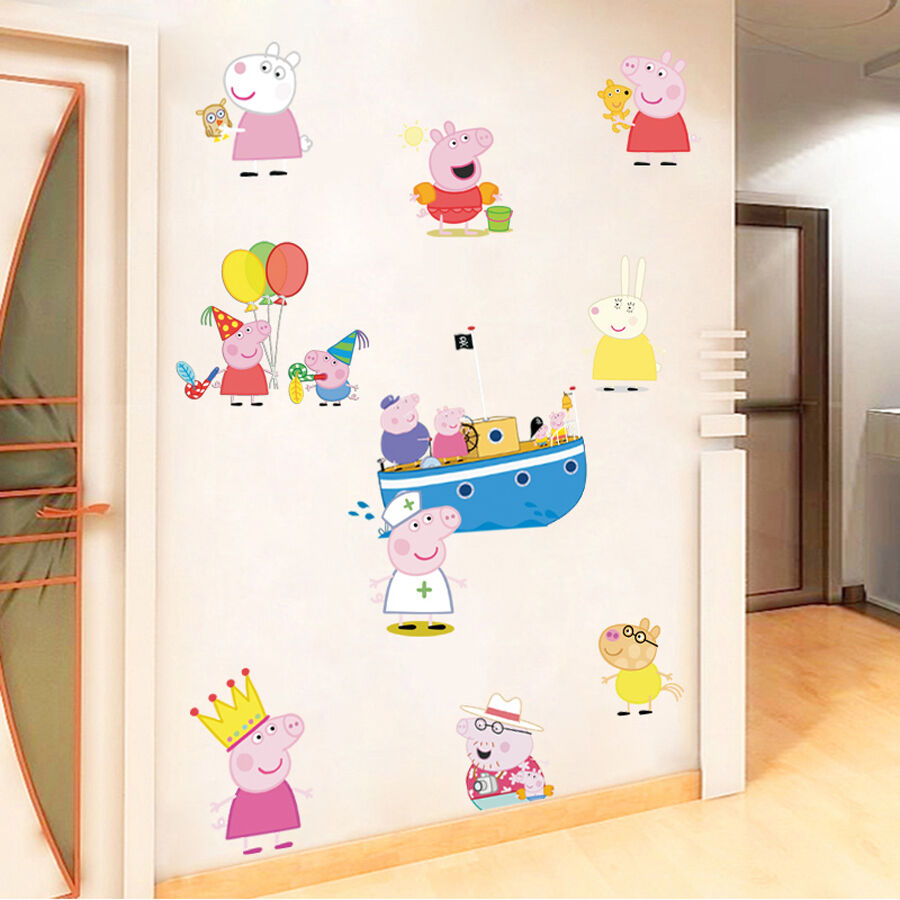 Peppa Pig Removable Wall Stickers Vinyl Decal Kids Nursery