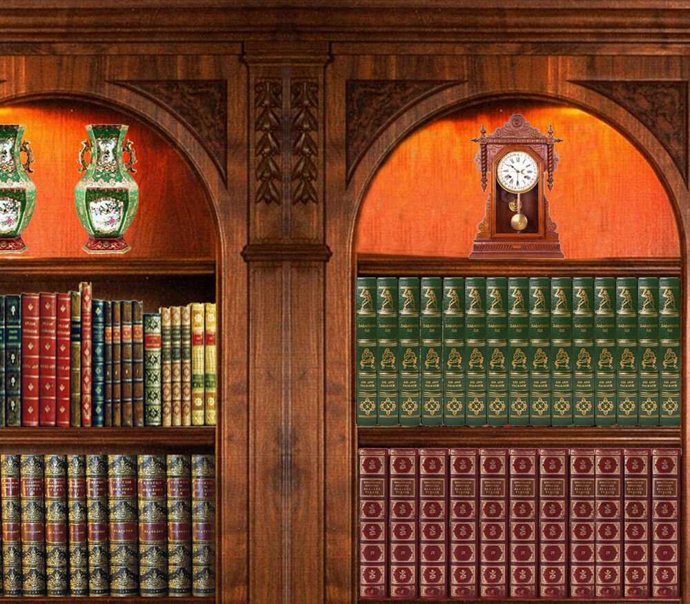 Dolls house victorian wallpaper library books mural for Quality wallpaper for home