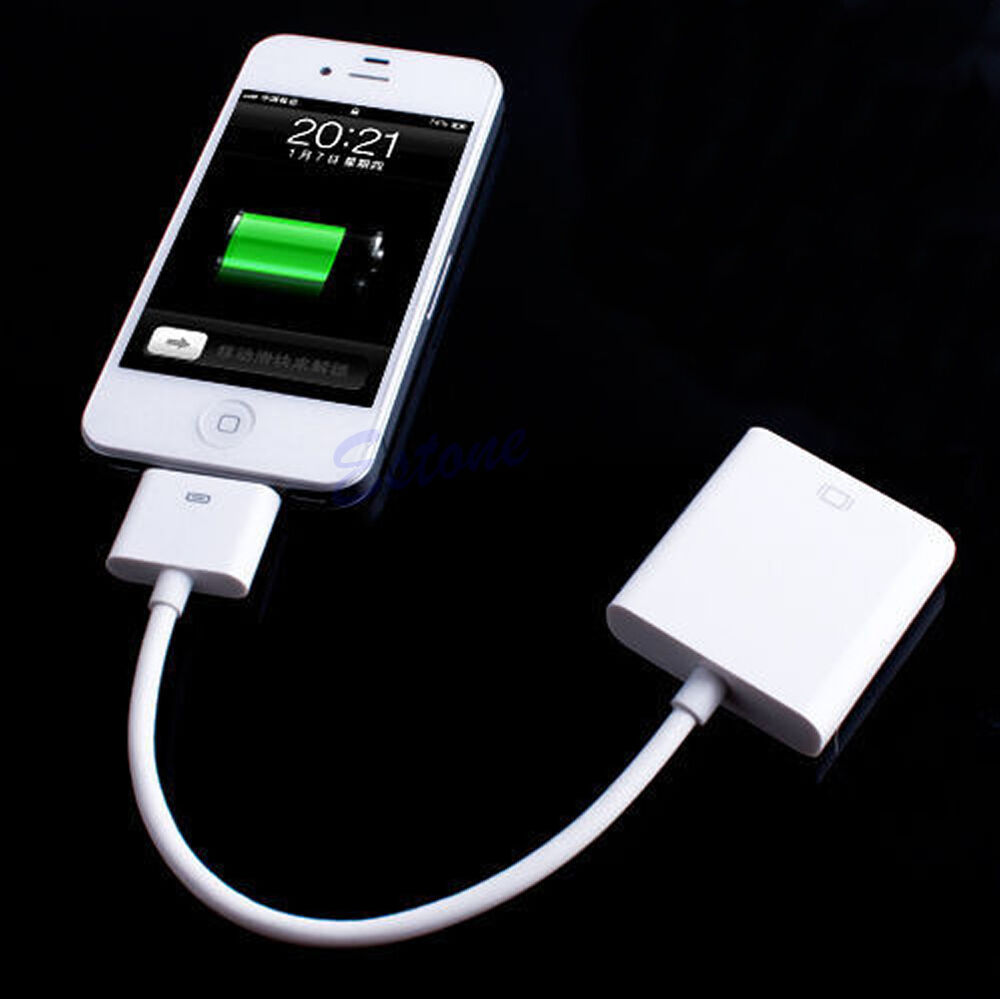 dock connector to vga converter adapter cable for iphone 4. Black Bedroom Furniture Sets. Home Design Ideas