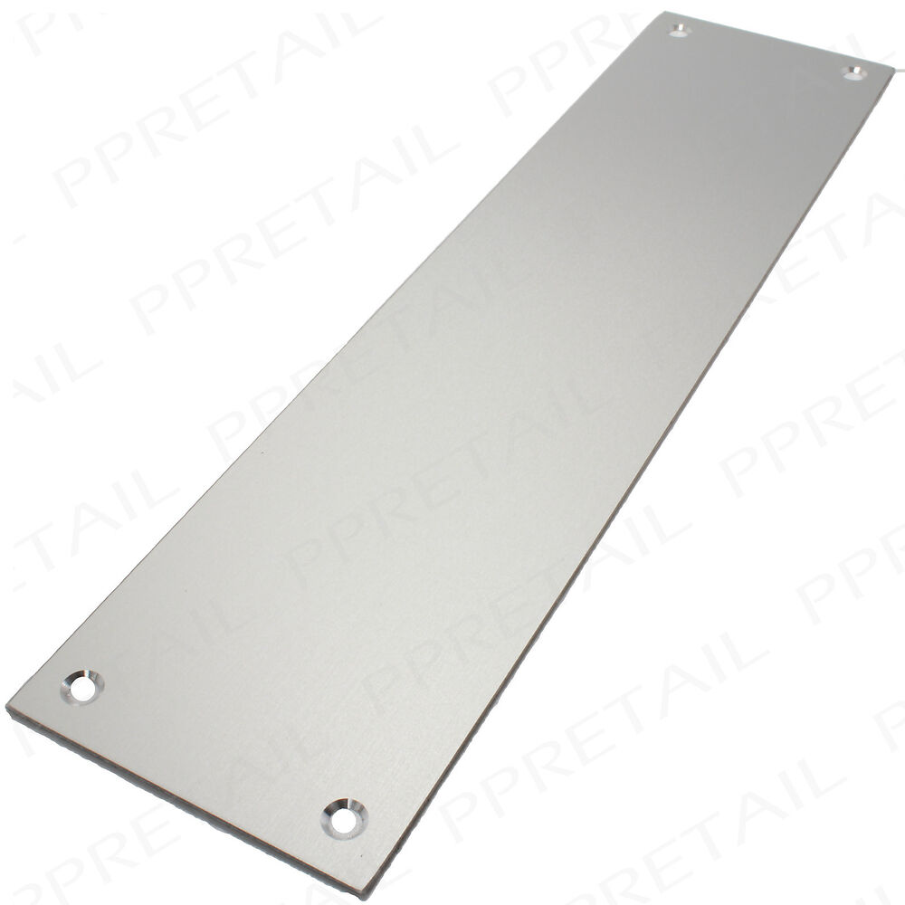 Silver door finger push plates square edged entrance exit for Door push plates