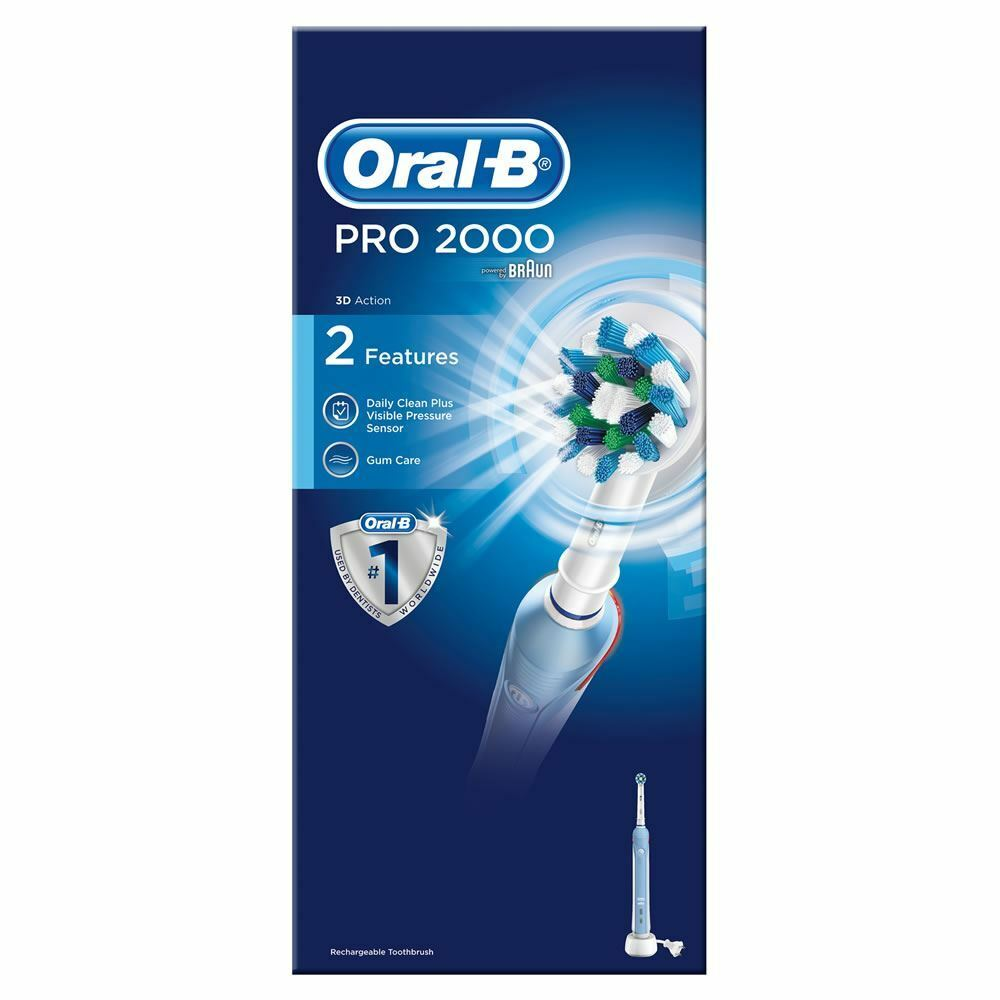 braun oral b pro 2000 2 mode rechargeable electric toothbrush ebay. Black Bedroom Furniture Sets. Home Design Ideas