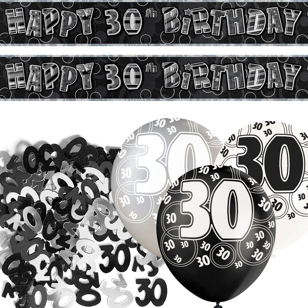 Black silver glitz 30th birthday banner party decoration for 30th birthday party decoration packs
