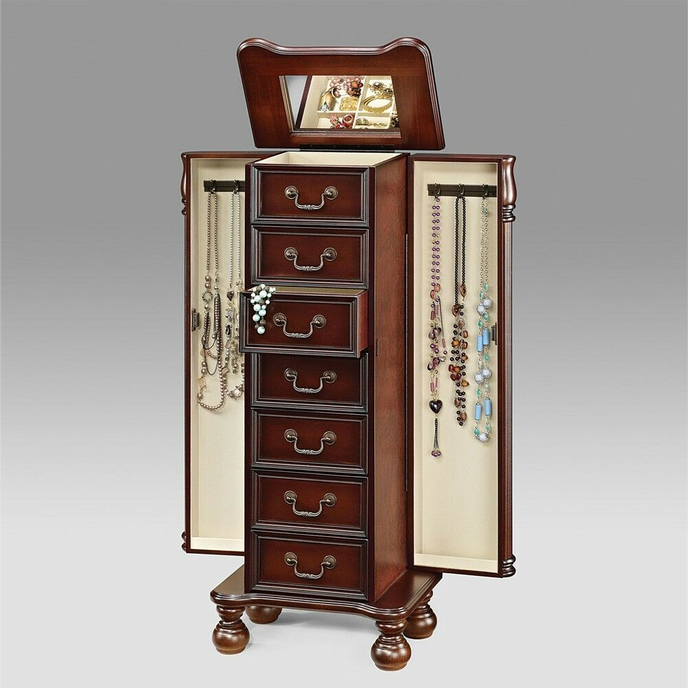 All Wood Storage Cabinet ~ Lopez jewelry armoire storage cabinet drawers w flip top