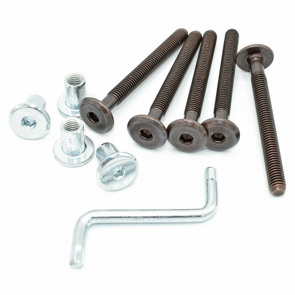Bronze Furniture Bolts Complete With Bronze Connector Nut And Allen Key Bed Cot Ebay