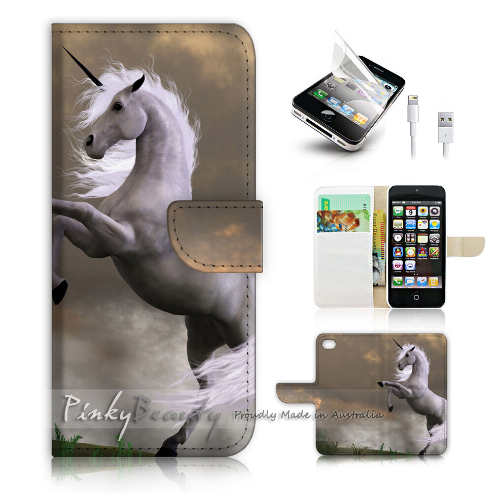 cool iphone 5s cases iphone 5 5s print flip wallet cover cool unicorn 1712