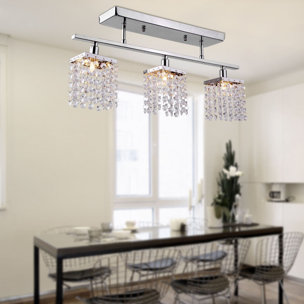 Modern dining room crystal rain drop chandelier 3 light for Modern crystal chandelier for dining room