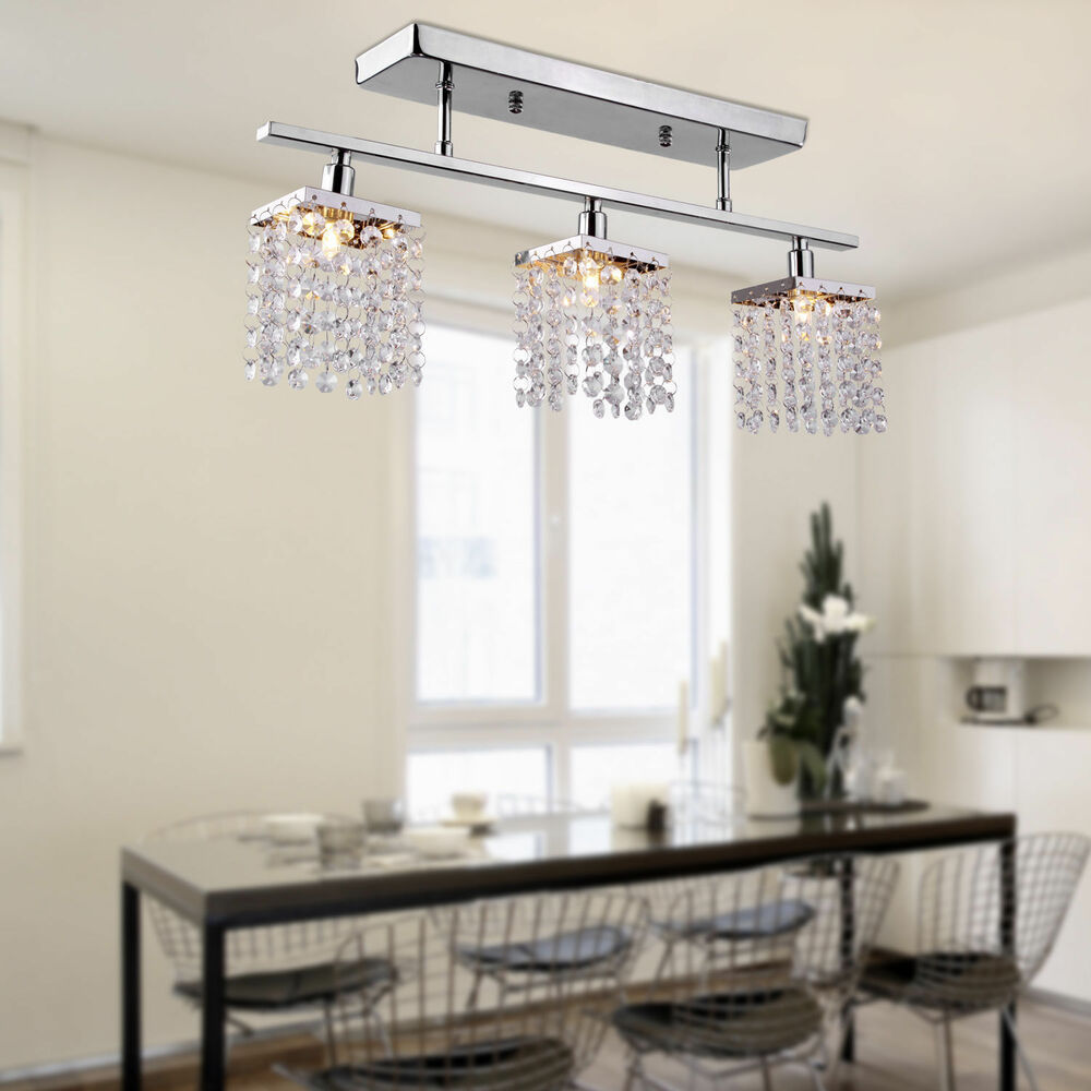 Contemporary Dining Room Chandeliers: Modern Dining Room Crystal Rain Drop Chandelier 3 Light