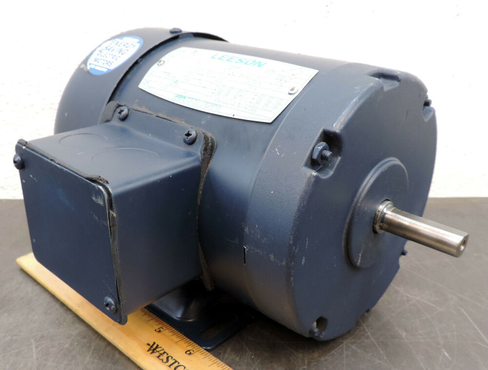 Leeson 1 4 hp 1725 rpm electric motor 3 ph 208 for One horsepower electric motor