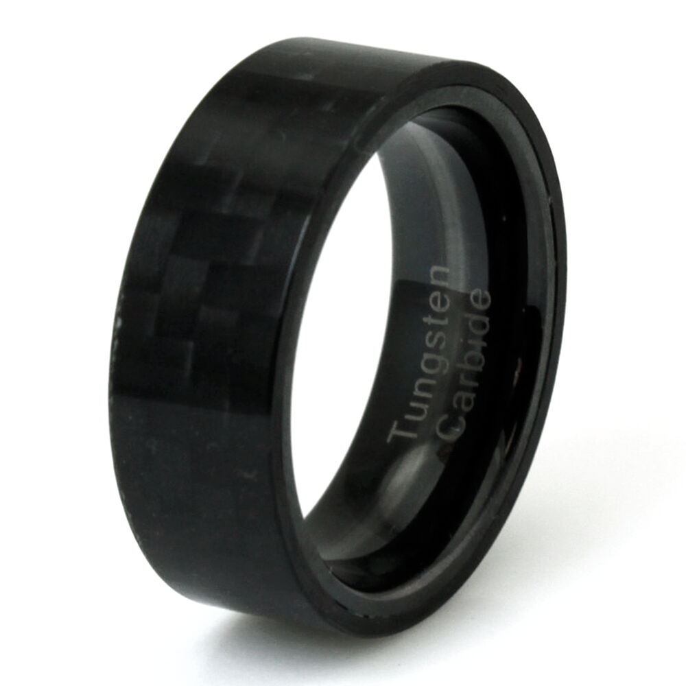 Men39s tungsten carbide black carbon fiber flat band for Carbon fibre wedding ring