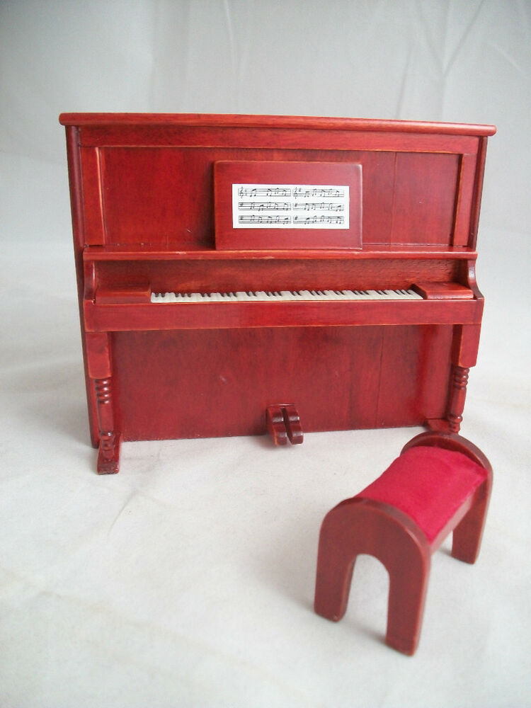 Upright piano w bench t3452 miniature dollhouse furniture wooden 2pc ebay Dollhouse wooden furniture