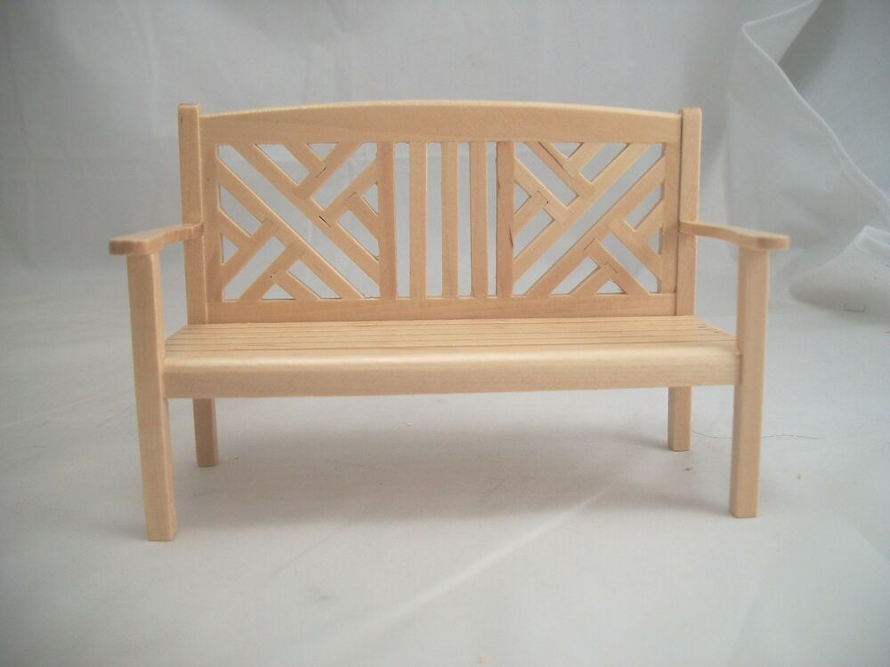 Garden bench dollhouse miniature furniture 1 12 scale t4940 wood w maple finish ebay Dollhouse wooden furniture