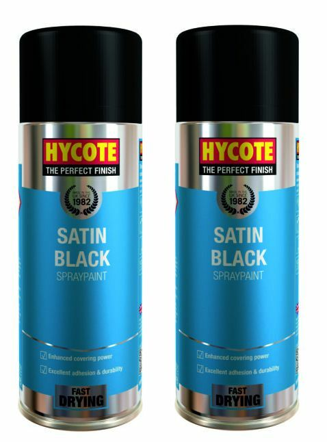 2 x hycote satin black car van bike spray paint aerosol 400ml ebay. Black Bedroom Furniture Sets. Home Design Ideas