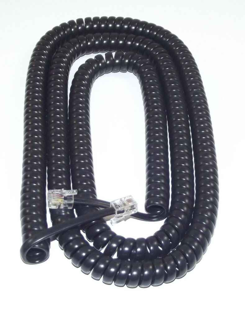 Extra Long Black Coiled Curly Telephone Handset Cord 25