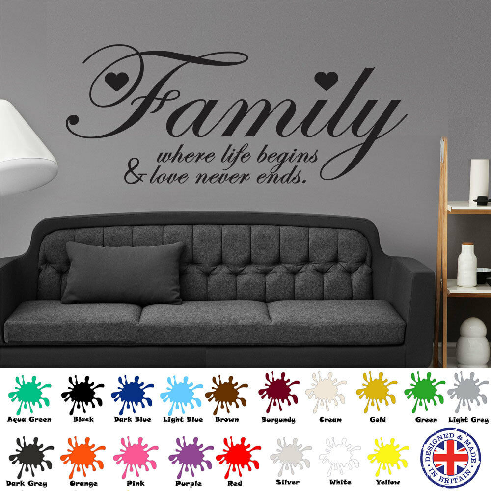 Details about family where life begins wall art sticker decal quote love hearts vinyl home
