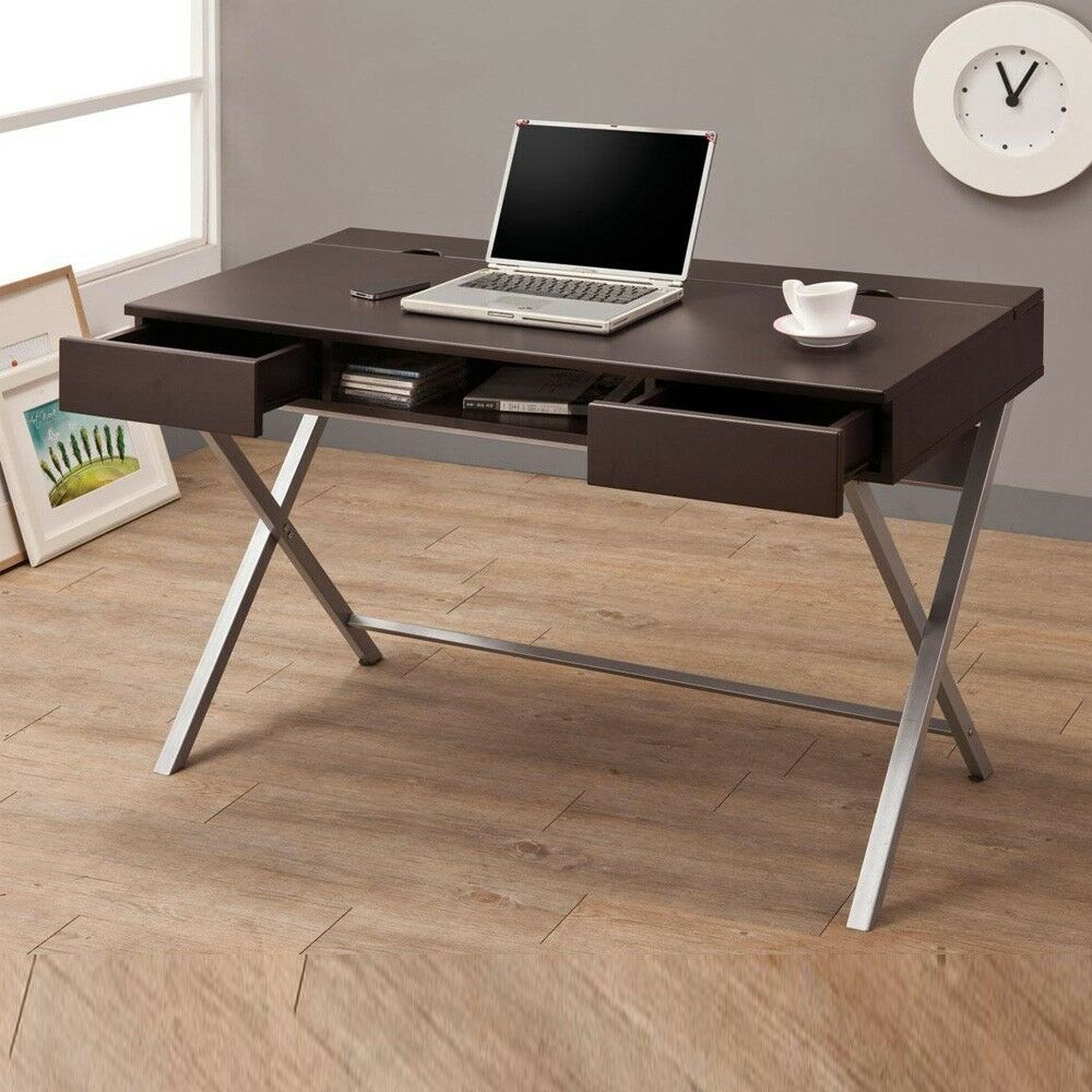 -it Desk Build-in Outlet Storage Compartment Drawers Cappuccino Metal
