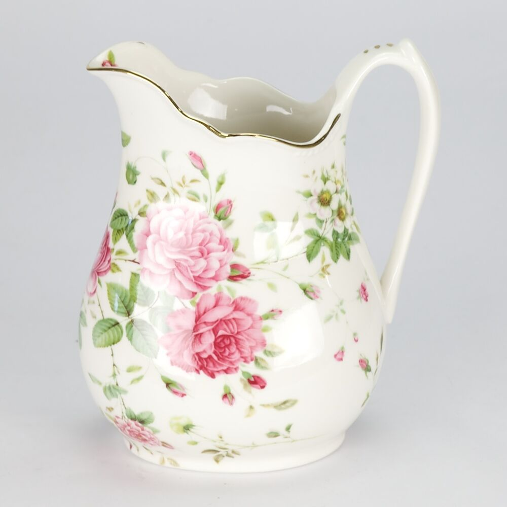 NEW Vintage Style Porcelain Water Jug Pitcher Flower Rose