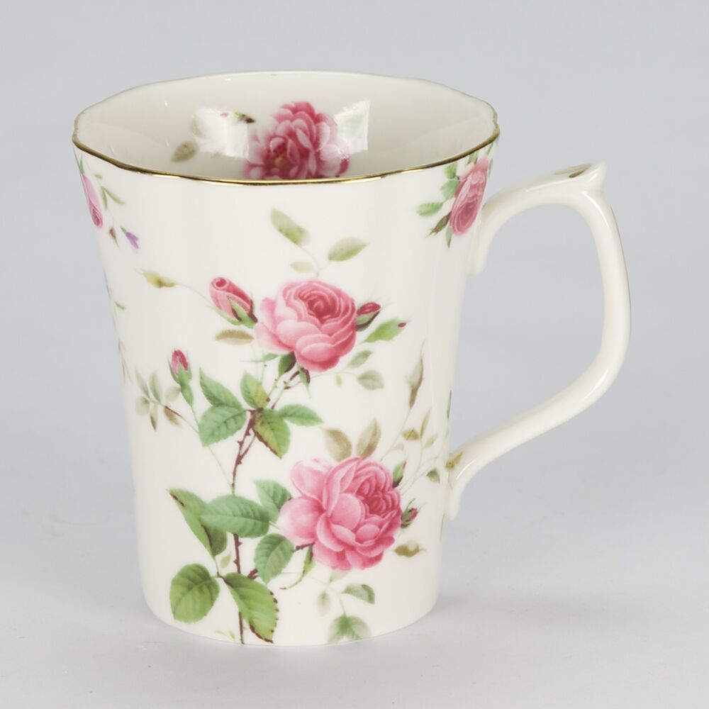 new tea coffee mug pink rose vintage shabby chic style. Black Bedroom Furniture Sets. Home Design Ideas