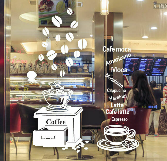 Coffee Cafe Shop Window Stickers Vinyl Wall Decal Business